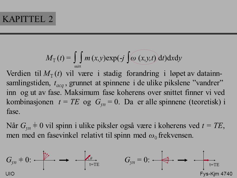 KAPITTEL 2 M T (t) = m (x,y)exp(-j ω (x,y,t) dt)dxdy ∫ snitt ∫ Verdien til M T (t) vil være i stadig forandring i løpet av datainn- samlingstiden, t a