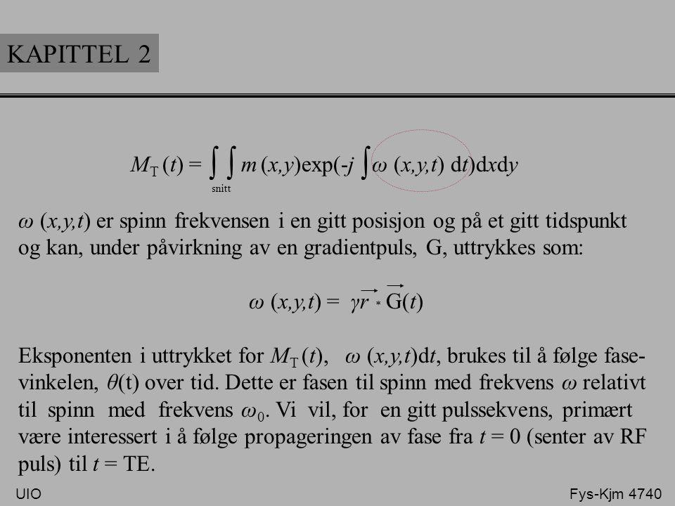 KAPITTEL 2 M T (t) = m (x,y)exp(-j ω (x,y,t) dt)dxdy ∫ snitt ∫ ω (x,y,t) er spinn frekvensen i en gitt posisjon og på et gitt tidspunkt og kan, under
