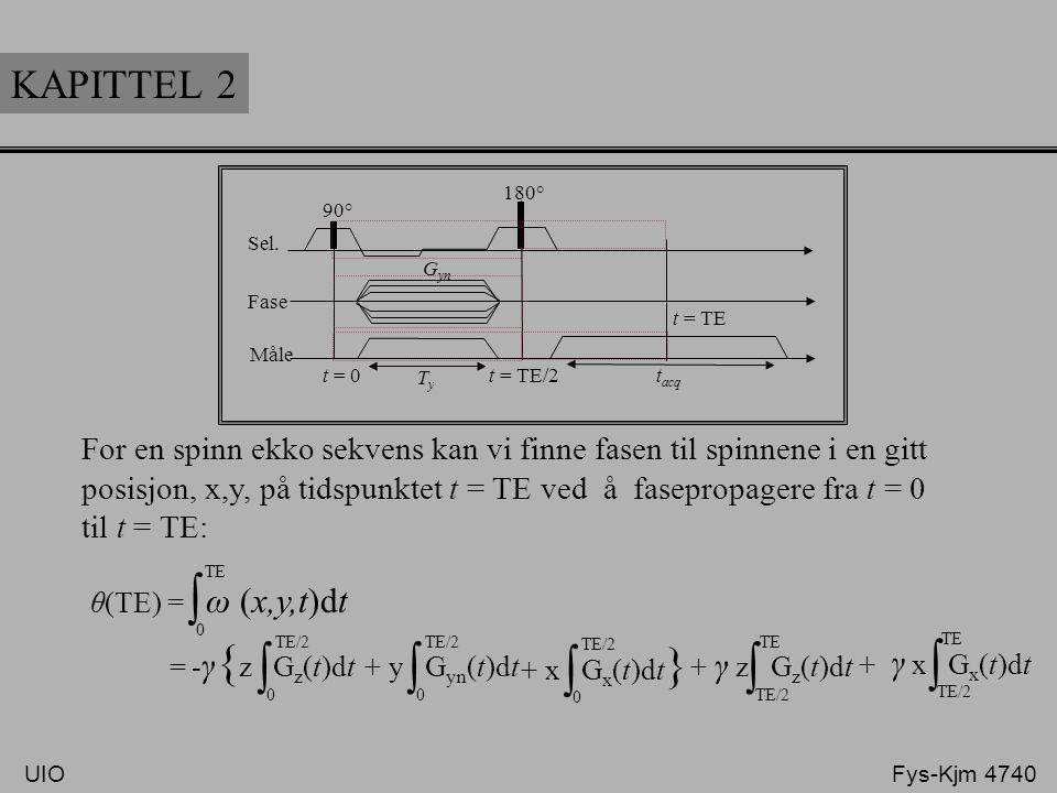 KAPITTEL 2 Sel. Fase Måle 90° 180° t = TE t = TE/2t = 0 TyTy t acq G yn For en spinn ekko sekvens kan vi finne fasen til spinnene i en gitt posisjon,