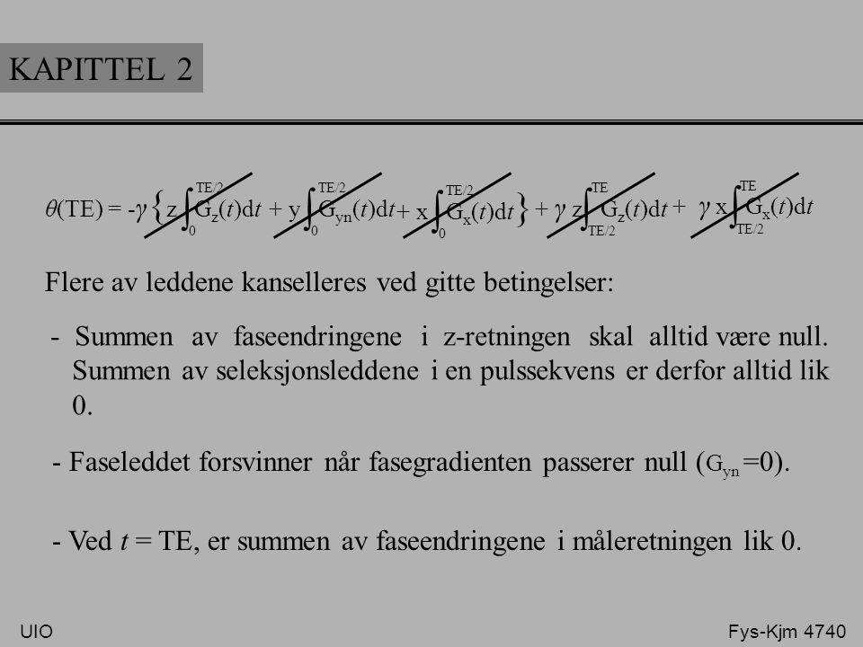 KAPITTEL 2 - γ { z G z (t)dt ∫ 0 TE/2 + y G yn (t)dt ∫ 0 TE/2 + x G x (t)dt } ∫ 0 TE/2 + γ z G z (t)dt ∫ TE/2 TE + γ x G x (t)dt ∫ TE/2 TE θ(TE) = Fle