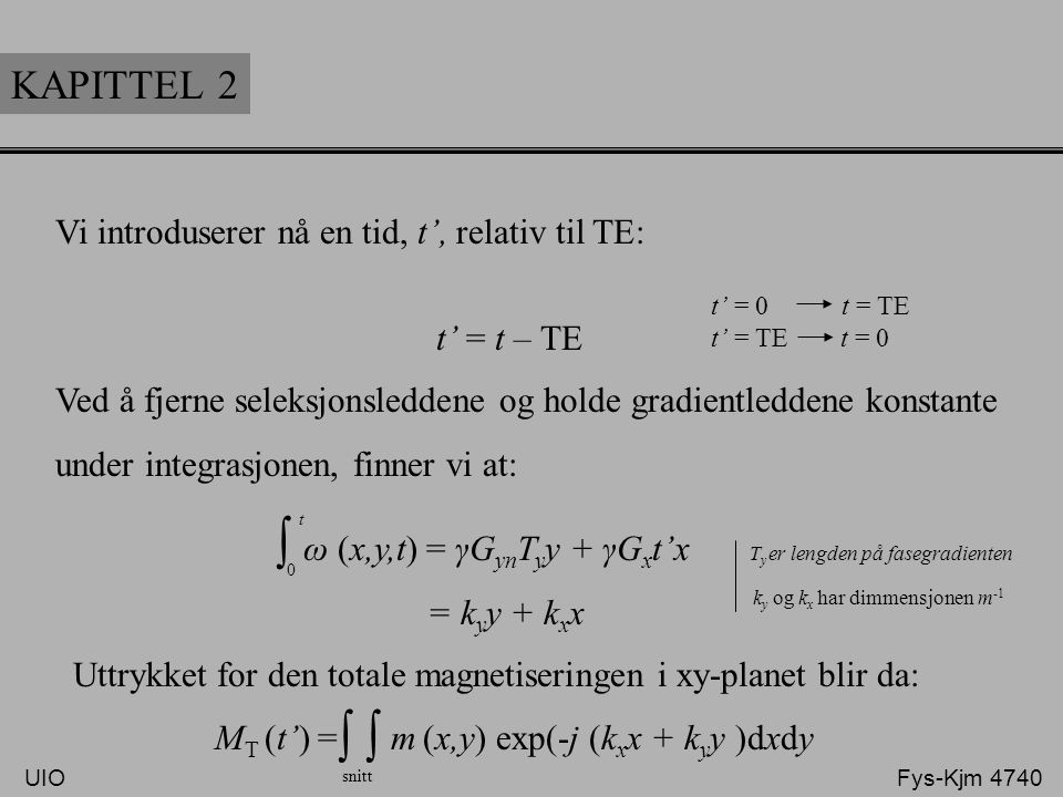 KAPITTEL 2 Vi introduserer nå en tid, t', relativ til TE: t' = t – TE t' = 0 t = TE t' = TE t = 0 Ved å fjerne seleksjonsleddene og holde gradientledd
