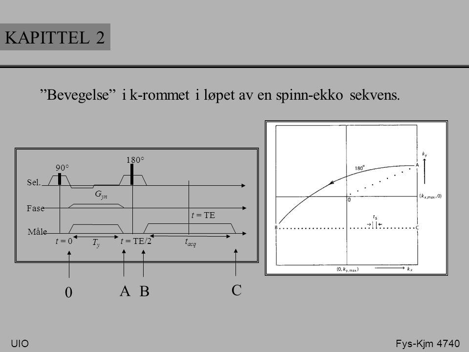 """KAPITTEL 2 Sel. Fase Måle 90° 180° t = TE t = TE/2t = 0 TyTy t acq G yn 0 A B C """"Bevegelse"""" i k-rommet i løpet av en spinn-ekko sekvens. UIO Fys-Kjm 4"""