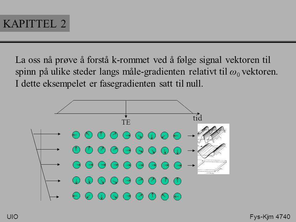KAPITTEL 2 La oss nå prøve å forstå k-rommet ved å følge signal vektoren til spinn på ulike steder langs måle-gradienten relativt til ω 0 vektoren. I