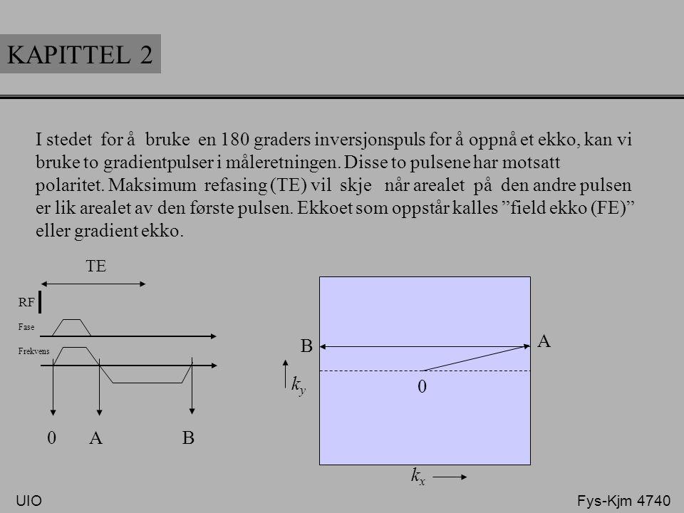 KAPITTEL 2 I stedet for å bruke en 180 graders inversjonspuls for å oppnå et ekko, kan vi bruke to gradientpulser i måleretningen. Disse to pulsene ha