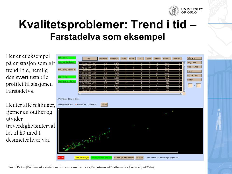 Trond Reitan (Division of statistics and insurance mathematics, Department of Mathematics, University of Oslo) Kvalitetsproblemer: Trend i tid – Farst