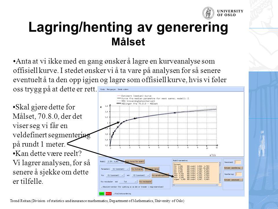 Trond Reitan (Division of statistics and insurance mathematics, Department of Mathematics, University of Oslo) Lagring/henting av generering Målset Sk