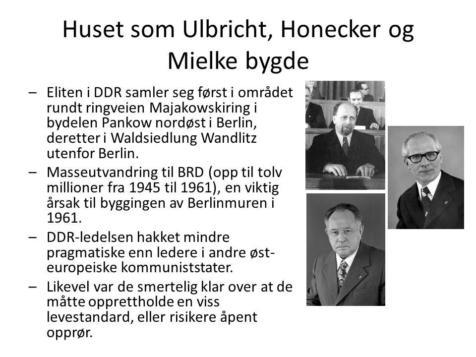 Huset som Ulbricht, Honecker og Mielke bygde –Eliten i DDR samler seg først i området rundt ringveien Majakowskiring i bydelen Pankow nordøst i Berlin, deretter i Waldsiedlung Wandlitz utenfor Berlin.
