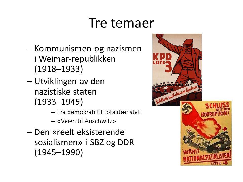 Tre temaer – Kommunismen og nazismen i Weimar-republikken (1918–1933) – Utviklingen av den nazistiske staten (1933–1945) – Fra demokrati til totalitær stat – «Veien til Auschwitz» – Den «reelt eksisterende sosialismen» i SBZ og DDR (1945–1990)