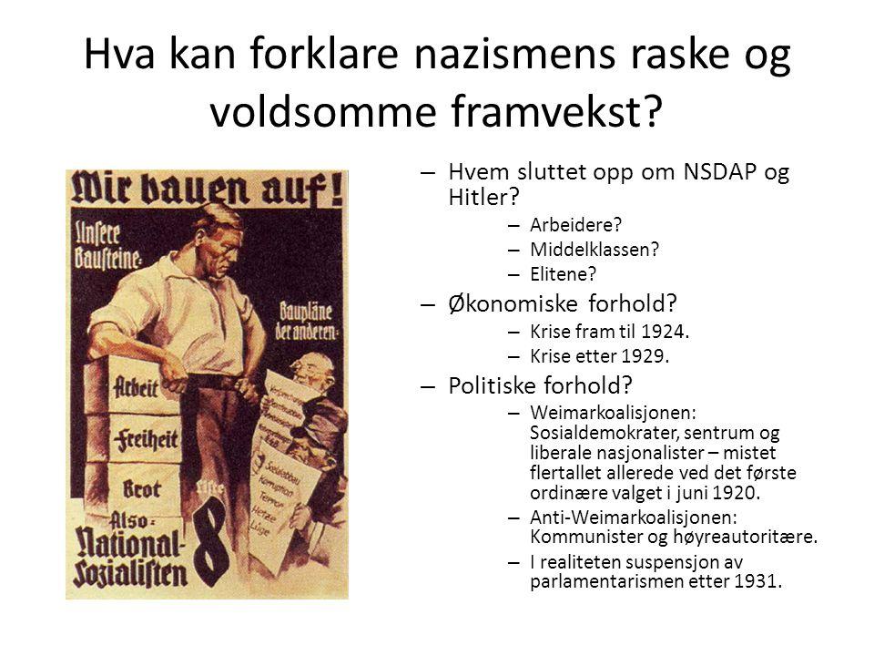 Hva kan forklare nazismens raske og voldsomme framvekst.