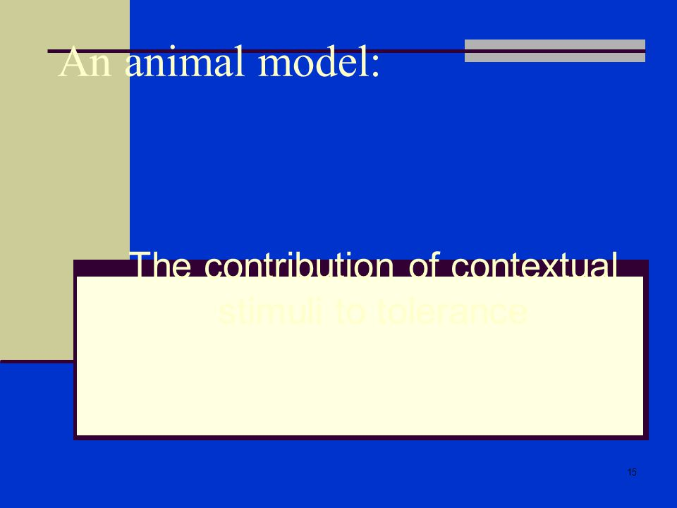 15 An animal model: The contribution of contextual stimuli to tolerance