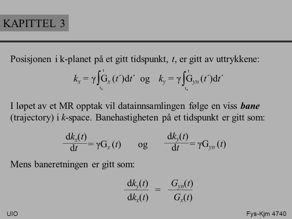 Posisjonen i k-planet på et gitt tidspunkt, t, er gitt av uttrykkene: I løpet av et MR opptak vil datainnsamlingen følge en viss bane (trajectory) i k