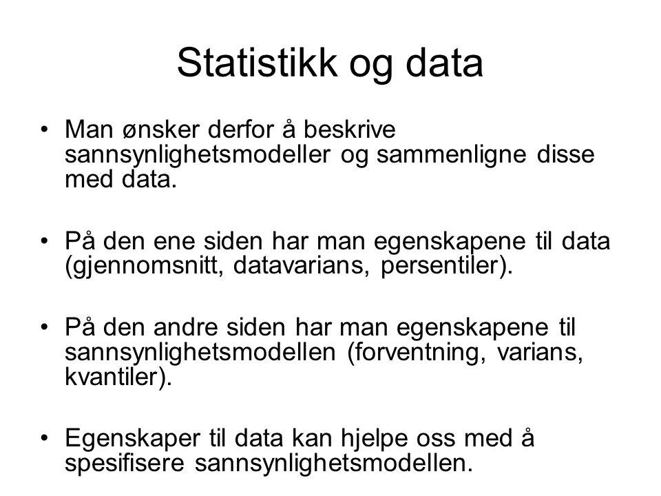 Statistikk og data Man ønsker derfor å beskrive sannsynlighetsmodeller og sammenligne disse med data. På den ene siden har man egenskapene til data (g