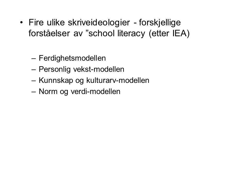 """Fire ulike skriveideologier - forskjellige forståelser av """"school literacy (etter IEA) –Ferdighetsmodellen –Personlig vekst-modellen –Kunnskap og kult"""