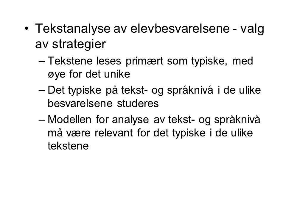 Tekstanalyse av elevbesvarelsene - valg av strategier –Tekstene leses primært som typiske, med øye for det unike –Det typiske på tekst- og språknivå i