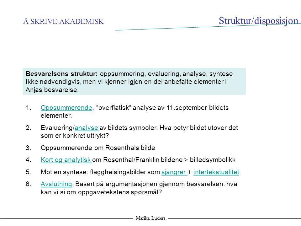 Å SKRIVE AKADEMISK Marika Lüders Struktur/disposisjon Besvarelsens struktur: oppsummering, evaluering, analyse, syntese Ikke nødvendigvis, men vi kjen