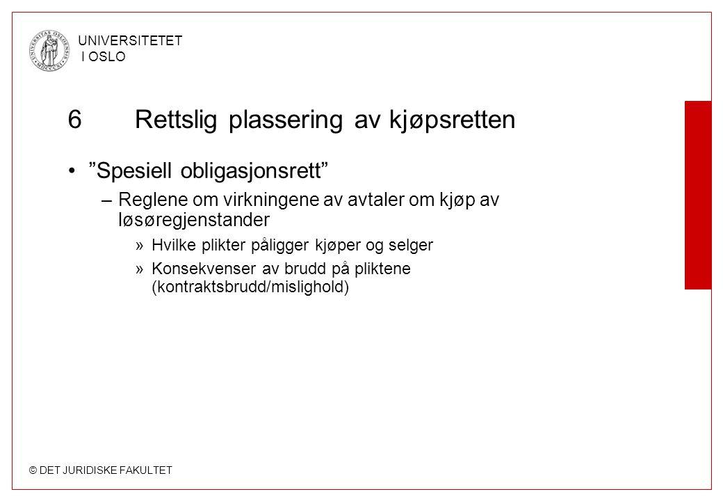"""© DET JURIDISKE FAKULTET UNIVERSITETET I OSLO 6Rettslig plassering av kjøpsretten """"Spesiell obligasjonsrett"""" –Reglene om virkningene av avtaler om kjø"""