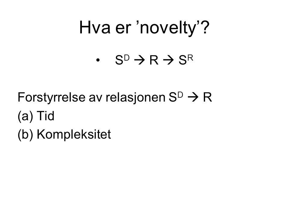 Hva er 'novelty'? S D  R  S R Forstyrrelse av relasjonen S D  R (a)Tid (b)Kompleksitet