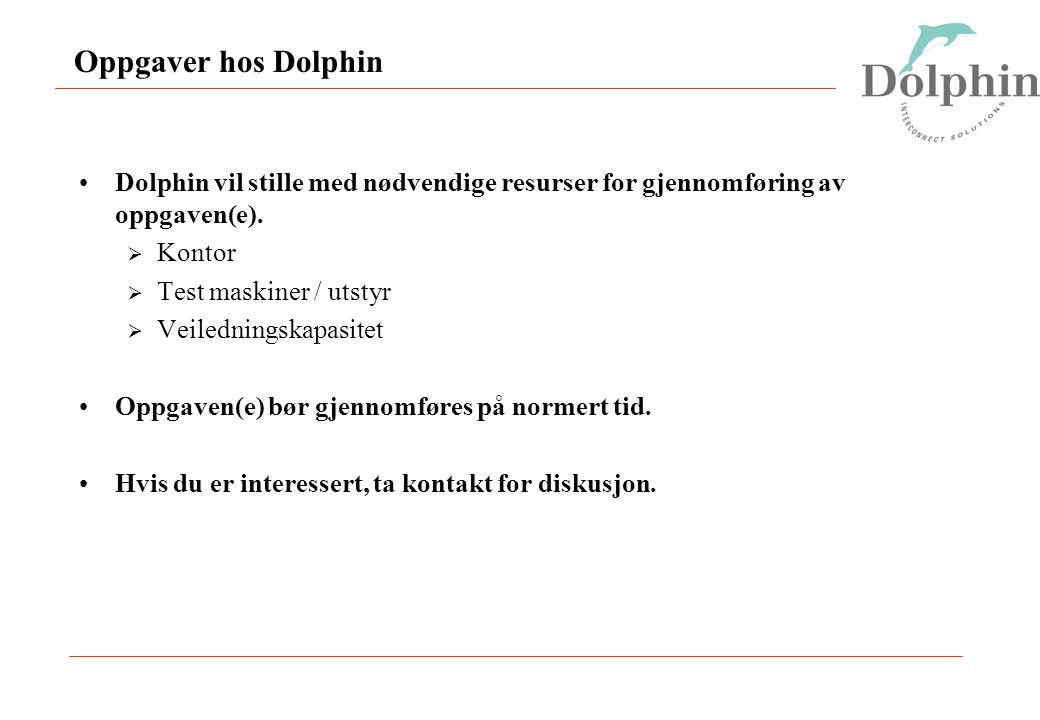 Oppgaver hos Dolphin Dolphin vil stille med nødvendige resurser for gjennomføring av oppgaven(e).  Kontor  Test maskiner / utstyr  Veiledningskapas