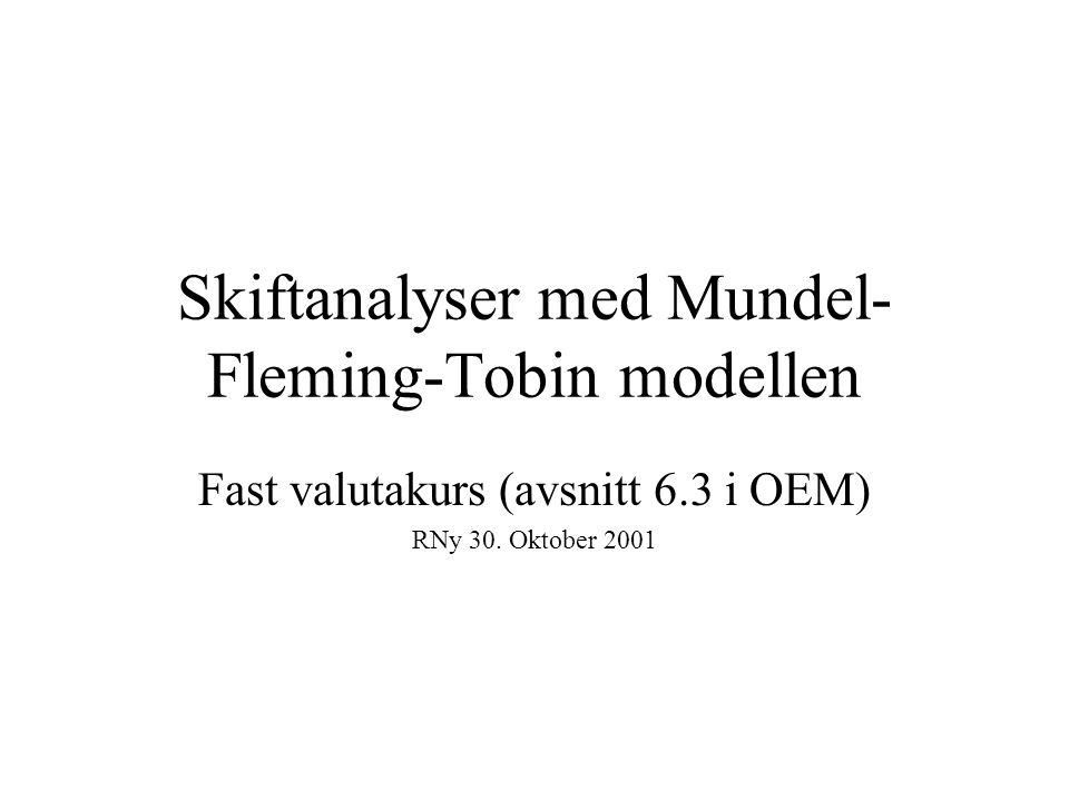 Skiftanalyser med Mundel- Fleming-Tobin modellen Fast valutakurs (avsnitt 6.3 i OEM) RNy 30. Oktober 2001