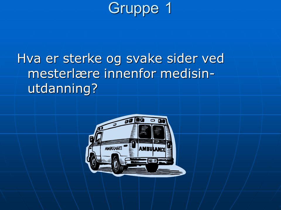 Gruppe 1 Hva er sterke og svake sider ved mesterlære innenfor medisin- utdanning?