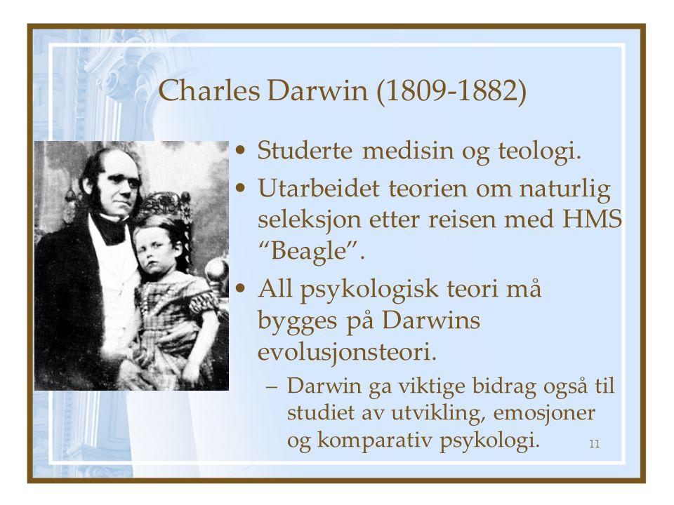 """Charles Darwin (1809-1882) Studerte medisin og teologi. Utarbeidet teorien om naturlig seleksjon etter reisen med HMS """"Beagle"""". All psykologisk teori"""