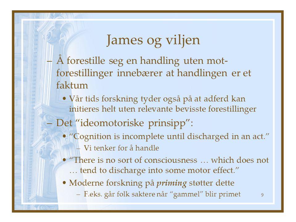 James og viljen –Å forestille seg en handling uten mot- forestillinger innebærer at handlingen er et faktum Vår tids forskning tyder også på at adferd