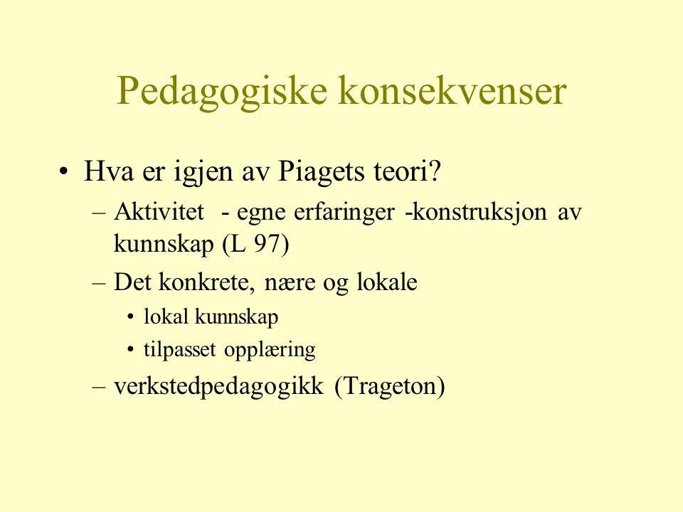 Pedagogiske konsekvenser Hva er igjen av Piagets teori? –Aktivitet - egne erfaringer -konstruksjon av kunnskap (L 97) –Det konkrete, nære og lokale lo