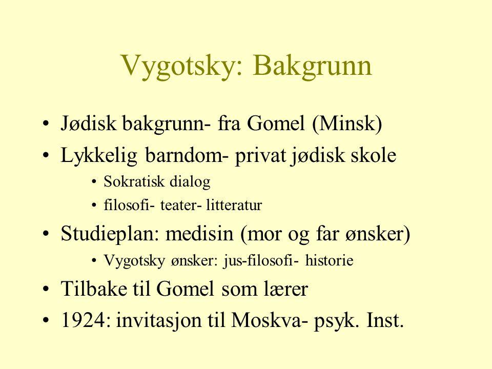 Vygotsky: Bakgrunn Jødisk bakgrunn- fra Gomel (Minsk) Lykkelig barndom- privat jødisk skole Sokratisk dialog filosofi- teater- litteratur Studieplan: