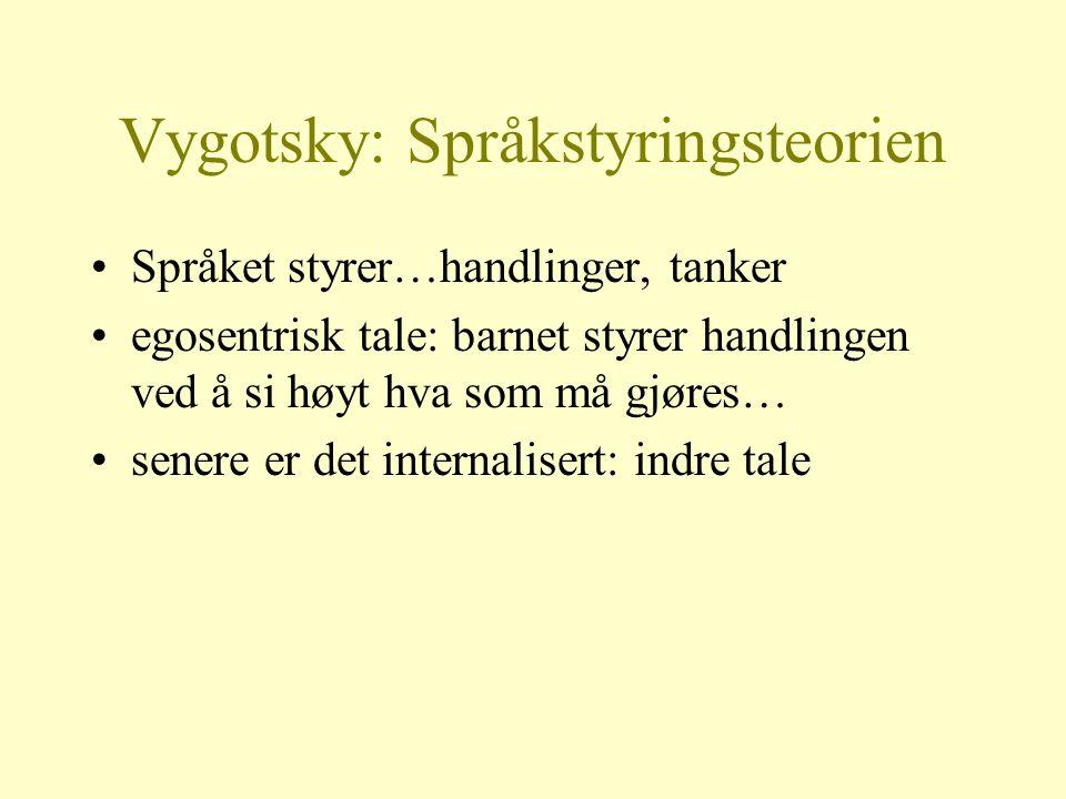 Vygotsky: Språkstyringsteorien Språket styrer…handlinger, tanker egosentrisk tale: barnet styrer handlingen ved å si høyt hva som må gjøres… senere er