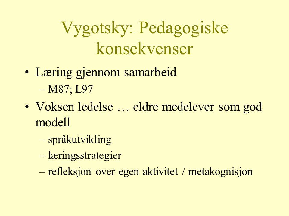 Vygotsky: Pedagogiske konsekvenser Læring gjennom samarbeid –M87; L97 Voksen ledelse … eldre medelever som god modell –språkutvikling –læringsstrategi