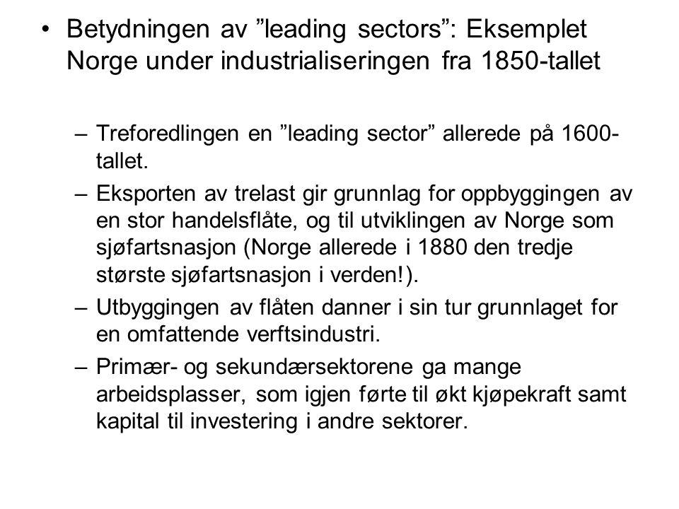 Betydningen av leading sectors : Eksemplet Norge under industrialiseringen fra 1850-tallet –Treforedlingen en leading sector allerede på 1600- tallet.