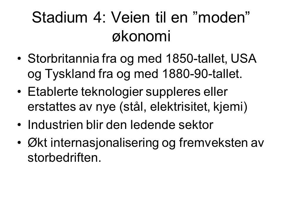 Stadium 4: Veien til en moden økonomi Storbritannia fra og med 1850-tallet, USA og Tyskland fra og med 1880-90-tallet.