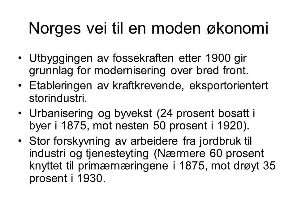 Norges vei til en moden økonomi Utbyggingen av fossekraften etter 1900 gir grunnlag for modernisering over bred front.