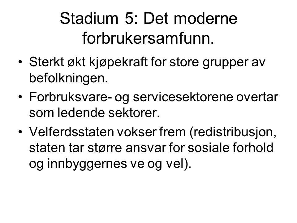 Stadium 5: Det moderne forbrukersamfunn.Sterkt økt kjøpekraft for store grupper av befolkningen.