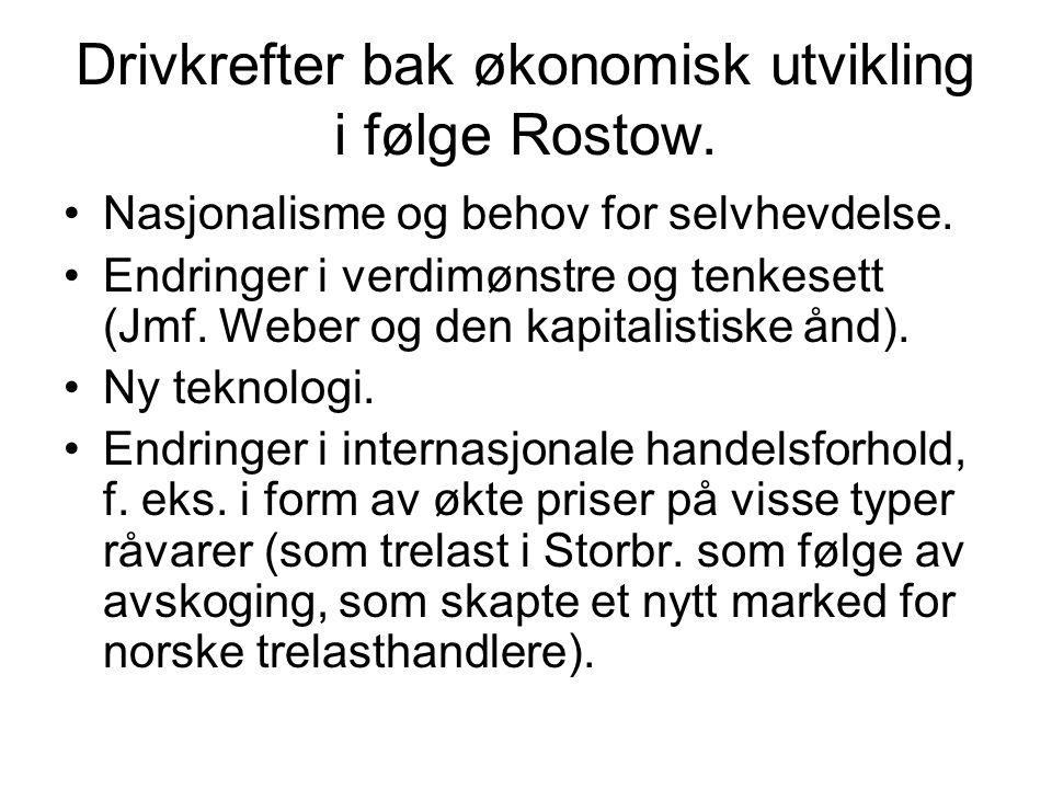 Drivkrefter bak økonomisk utvikling i følge Rostow.