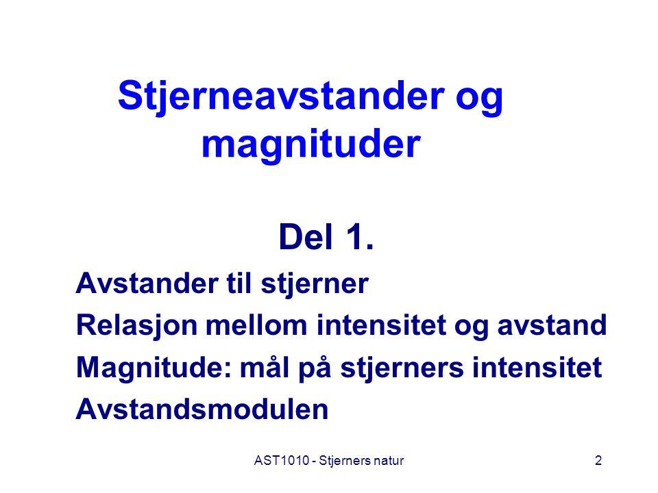 AST1010 - Stjerners natur2 Stjerneavstander og magnituder Del 1. Avstander til stjerner Relasjon mellom intensitet og avstand Magnitude: mål på stjern