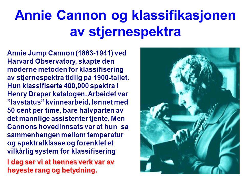 25 Annie Cannon og klassifikasjonen av stjernespektra Annie Jump Cannon (1863-1941) ved Harvard Observatory, skapte den moderne metoden for klassifisering av stjernespektra tidlig på 1900-tallet.