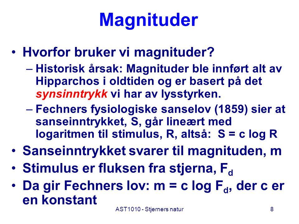AST1010 - Stjerners natur8 Magnituder Hvorfor bruker vi magnituder? –Historisk årsak: Magnituder ble innført alt av Hipparchos i oldtiden og er basert