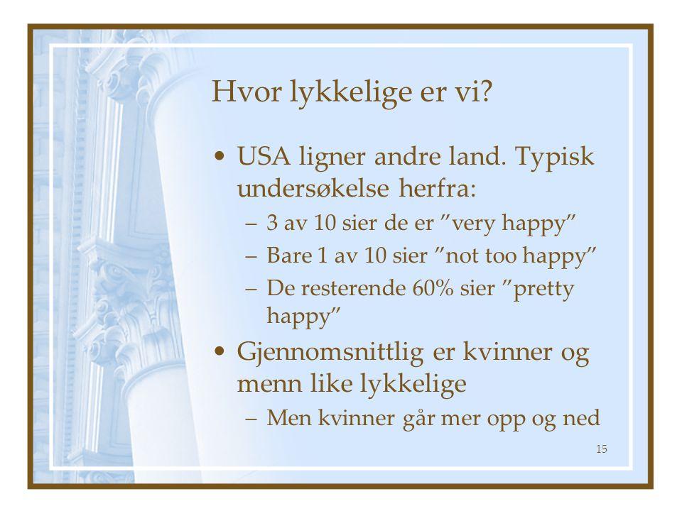 """Hvor lykkelige er vi? USA ligner andre land. Typisk undersøkelse herfra: –3 av 10 sier de er """"very happy"""" –Bare 1 av 10 sier """"not too happy"""" –De reste"""