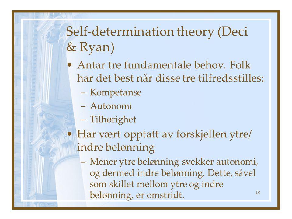 Self-determination theory (Deci & Ryan) Antar tre fundamentale behov. Folk har det best når disse tre tilfredsstilles: –Kompetanse –Autonomi –Tilhørig