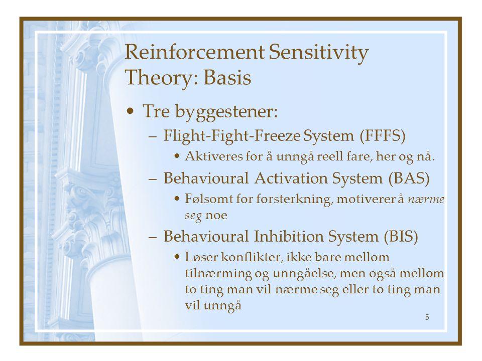 Reinforcement Sensitivity Theory: Basis Tre byggestener: –Flight-Fight-Freeze System (FFFS) Aktiveres for å unngå reell fare, her og nå. –Behavioural