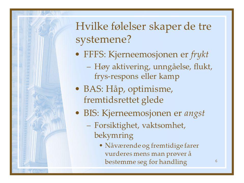 Hvilke følelser skaper de tre systemene? FFFS: Kjerneemosjonen er frykt –Høy aktivering, unngåelse, flukt, frys-respons eller kamp BAS: Håp, optimisme