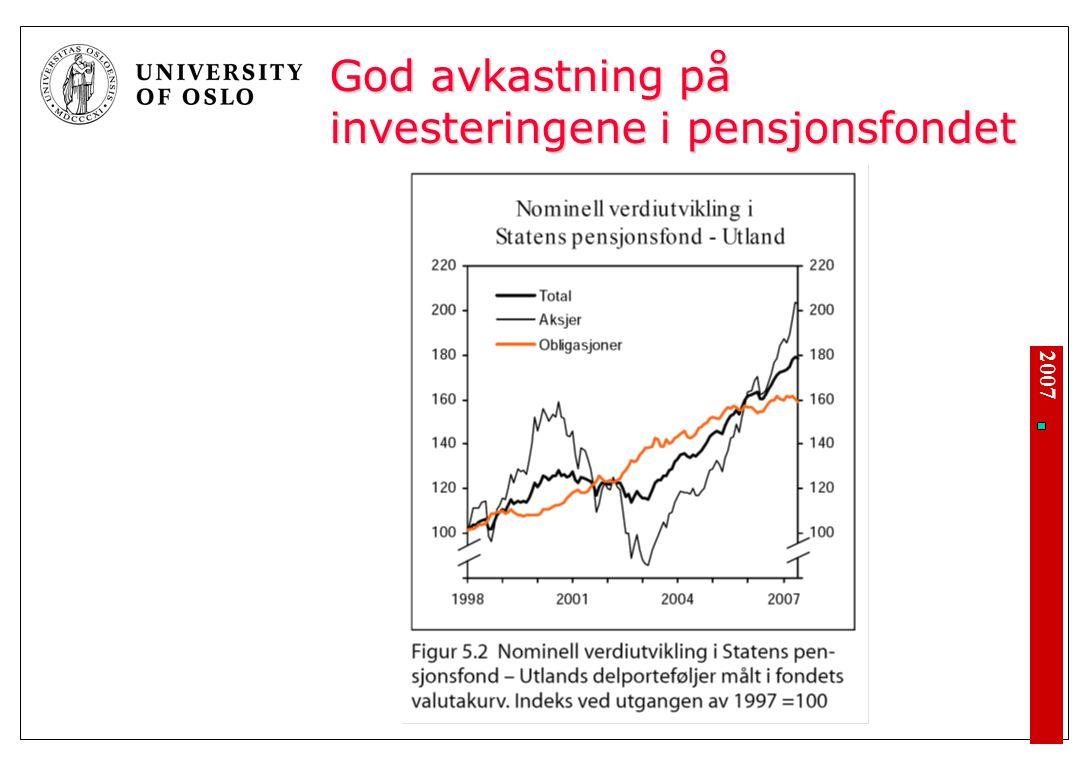 2007 God avkastning på investeringene i pensjonsfondet