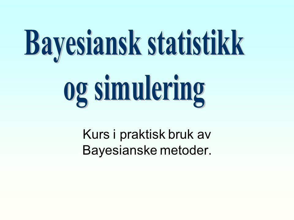 Kurs i praktisk bruk av Bayesianske metoder.