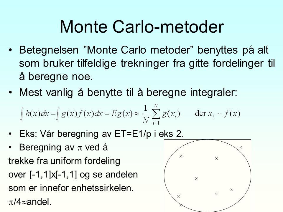 """Monte Carlo-metoder Betegnelsen """"Monte Carlo metoder"""" benyttes på alt som bruker tilfeldige trekninger fra gitte fordelinger til å beregne noe. Mest v"""