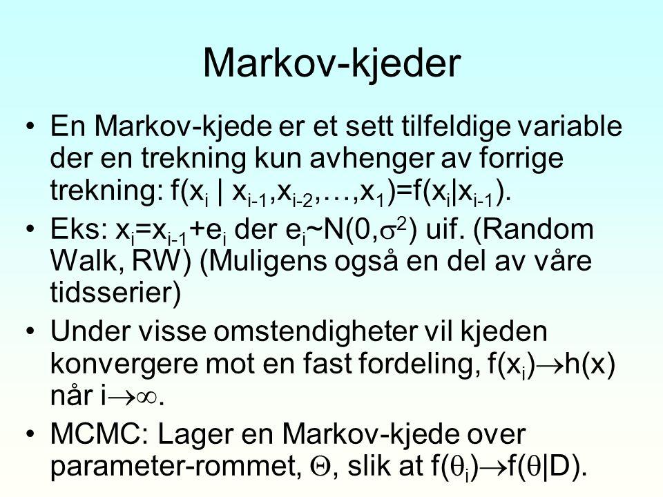 Markov-kjeder En Markov-kjede er et sett tilfeldige variable der en trekning kun avhenger av forrige trekning: f(x i | x i-1,x i-2,…,x 1 )=f(x i |x i-