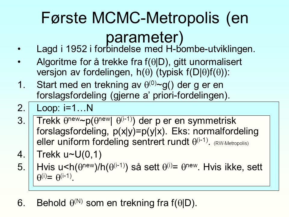 Første MCMC-Metropolis (en parameter) Lagd i 1952 i forbindelse med H-bombe-utviklingen. Algoritme for å trekke fra f(  |D), gitt unormalisert versjo