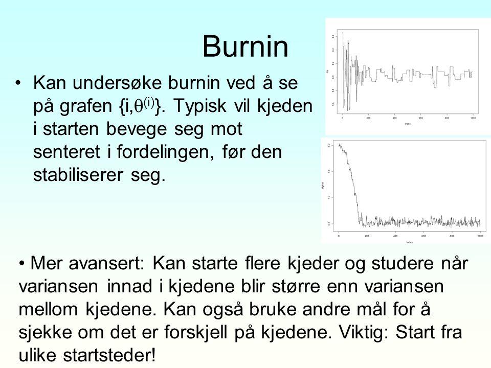 Burnin Kan undersøke burnin ved å se på grafen {i,  (i) }. Typisk vil kjeden i starten bevege seg mot senteret i fordelingen, før den stabiliserer se