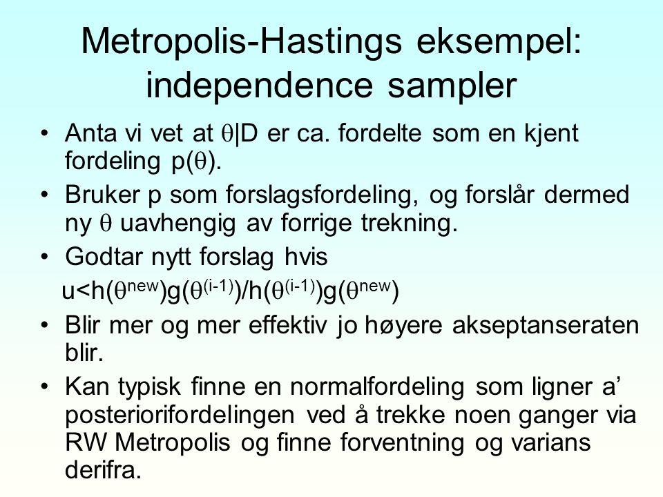 Metropolis-Hastings eksempel: independence sampler Anta vi vet at  |D er ca. fordelte som en kjent fordeling p(  ). Bruker p som forslagsfordeling,