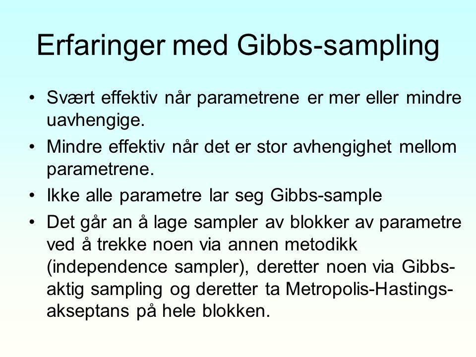 Erfaringer med Gibbs-sampling Svært effektiv når parametrene er mer eller mindre uavhengige. Mindre effektiv når det er stor avhengighet mellom parame